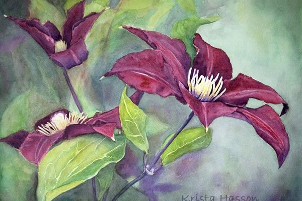 Watercolor Demo – Painting Clematis Flowers